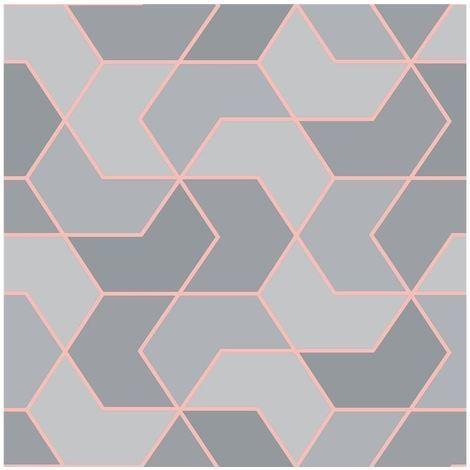 Grey Rose Gold Geometric Hexagon Wallpaper Metallic Sheen Glitter Modern Rasch