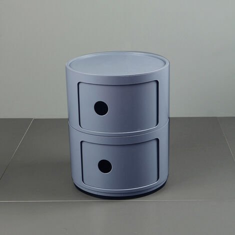 Grey Round Bathroom Bedroom Drawer Storage Unit ABS Cabinet Cupboard Bedside Table