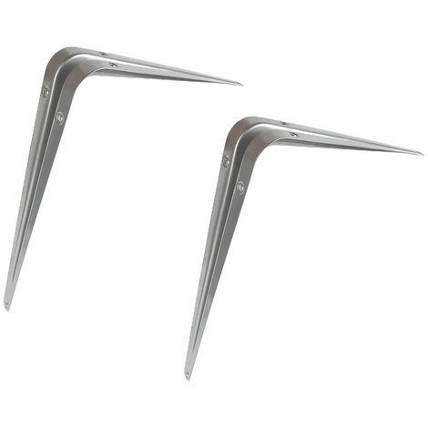 """Grey Shelf Bracket 12"""" X 10"""" (300X250Mm) - 2 Pack"""