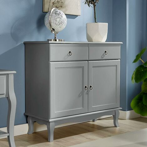 """main image of """"Grey Sideboard 2 Drawer 2 Door Storage Cabinet French Inspired Sculpted Legs"""""""