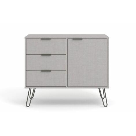 "main image of ""Grey Sideboard Cupboard With 1 Doors, 3 Drawers Living Room Storage Furniture"""