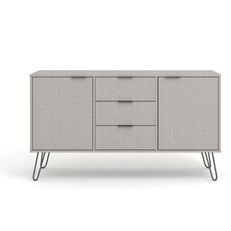 "main image of ""Grey Sideboard Cupboard With 2 Doors, 3 Drawers Living Room Storage Furniture"""
