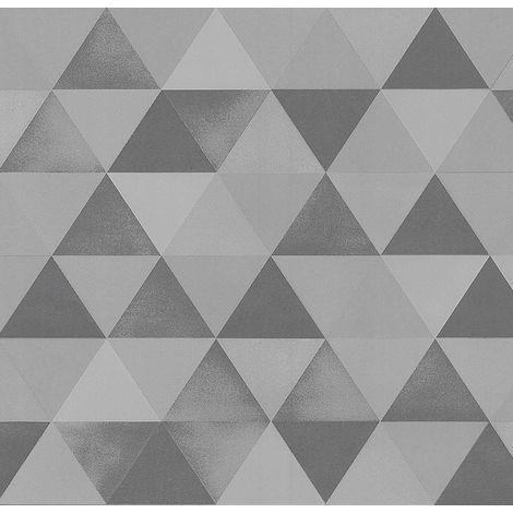 Grey Silver Geometric Triangles Wallpaper Metallic Textured Paste Wall Vinyl P+S