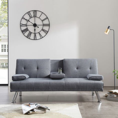 Grey Sofa Bed 3 Seater 3 Inclining Positions with Drink Cup Holder Luxury Sofa Bed for Living Room