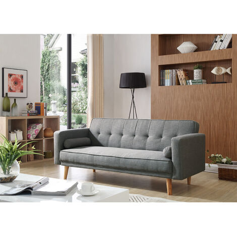 Grey Sofa Bed 3 Seater Adjustable 3 Inclining Positions Back Padded Sofabed Suite with 2 Cushions for Living Room