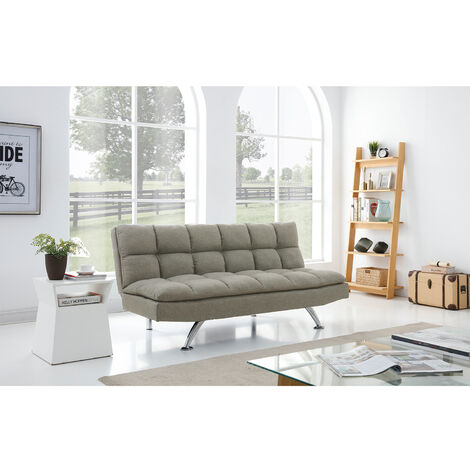 Grey Sofa Bed 3 Seater Adjustable 3 Inclining Positions Upholstered Modern Sofabed with Metal Legs for Living Room