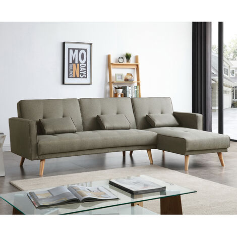 """main image of """"Grey Sofa Bed 3 to 4 Seater L Shaped Adjustable 3 Inclining Positions Fabric Corner Sofabed Couch Linen With Cushions for Living Room"""""""