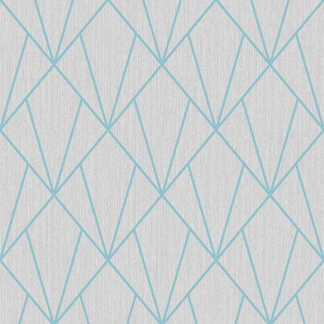 Grey Turquoise Geometric Diamonds Wallpaper Metallic Glitter Muriva Indra