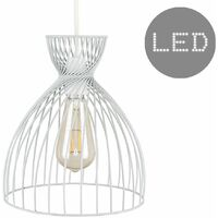 Grey Twisted Cage Ceiling Pendant Light Shade - 4w LED Filament Bulb Warm White