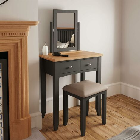 """main image of """"Grey Upholstered Dressing Table Desk Stool Wooden Tapered Legs Grey Cushion"""""""