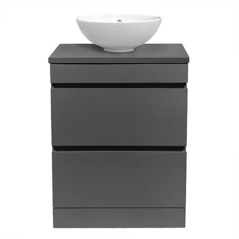 Grey Vanity Unit Countertop Basin Bathroom 2 Drawer Storage Furniture 600mm