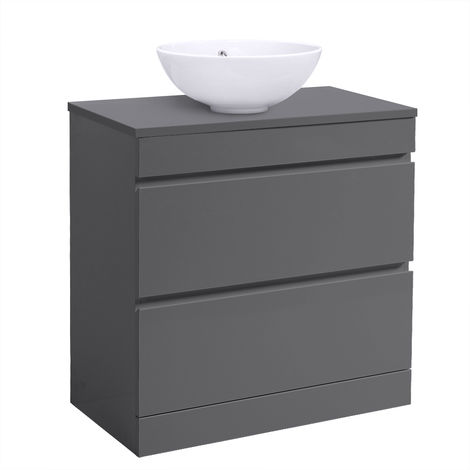 Grey Vanity Unit Countertop Basin Bathroom 2 Drawer Storage Furniture 800mm
