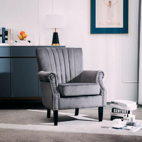 Grey Velvet Chesterfield Tub Chair Armchair