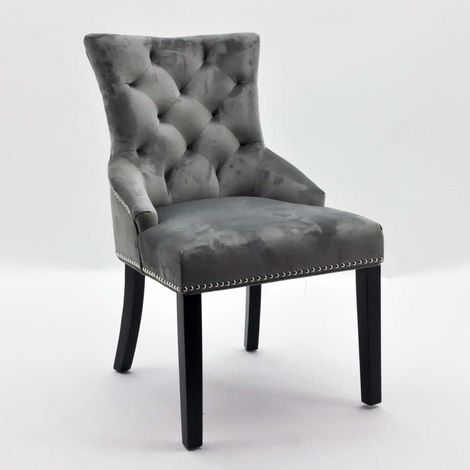Grey Velvet Dining Chair With Chrome Legs