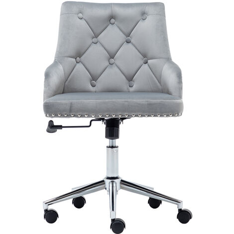 """main image of """"Grey Velvet Executive Office Chair Swivel Study Computer Desk Chair Gas Lift"""""""