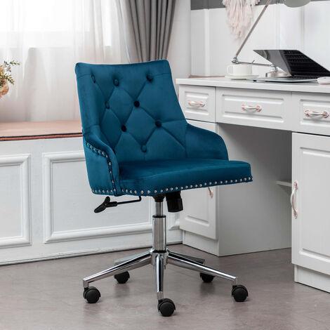 Grey Velvet Executive Office Chair Swivel Study Computer Desk Chair Gas Lift