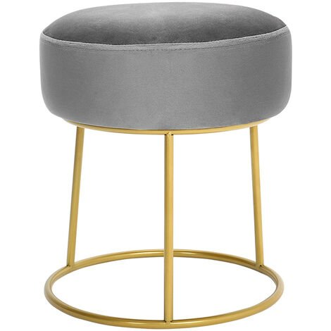 Grey Velvet Footstool Pouffe Makeup Dressing Table Stool Seat Chair Footrest
