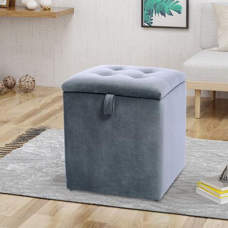 Grey Velvet Padded Dressing Table Stool Storage Ottoman Footrest Living Bedroom