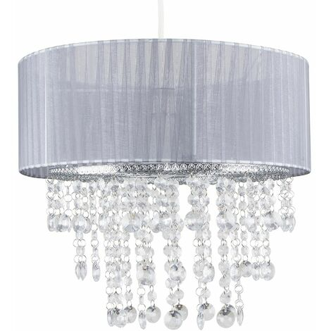 Grey Voile Ribbon Wrapped Ceiling Pendant Shade + Clear Acrylic Droplets