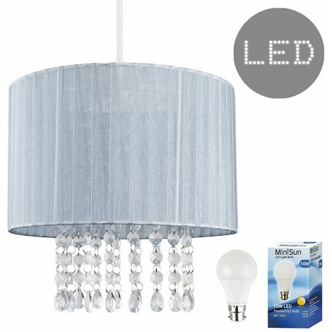 Grey Voile Ribbon Wrapped Pendant Shade + Acrylic Droplets - 10W LED Gls Bulb Warm White