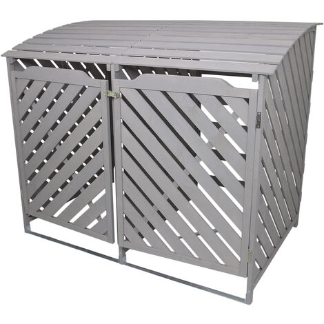 Grey Wash Double Wheelie Bin Storage
