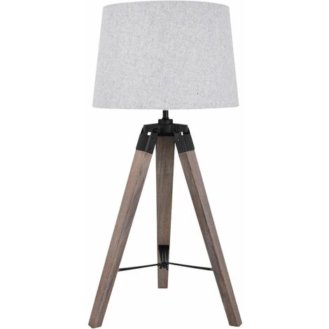 Grey Wash Tripod Wooden Table Lamp with Black Painted Metal Details and Grey Fabric Shade