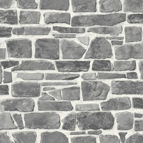 Grey White Brick Wallpaper Realistic Slate Stone Rustic Vinyl Textured Rasch