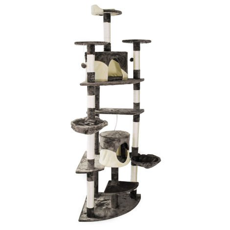 Grey/White Corner Cat Tree Scratching Post Climbing Tree 200cm with Platforms, Caves and Hammocks