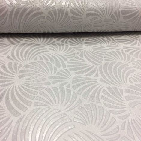 Grey White Glitter Wallpaper Geometric Shells Textured Vinyl Paste The Wall