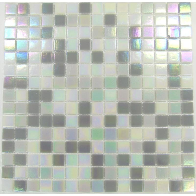 Image of Grey & White Mix in Iridecsent Glass Mosaic Tiles SQM (MT0167)