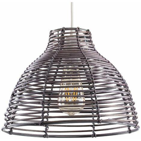 Grey Wicker Rattan Basket Ceiling Pendant Light Shade + 4W LED Filament Bulb Warm White - Grey
