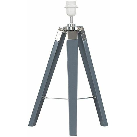 Grey Wood & Chrome Tripod Table Lamp Base - Grey