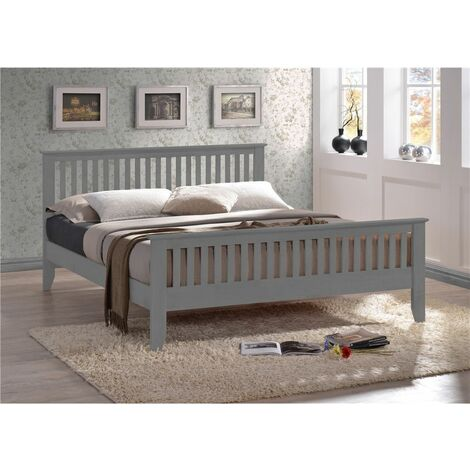 """Grey Wooden Bed Frame - Double 4ft 6"""""""