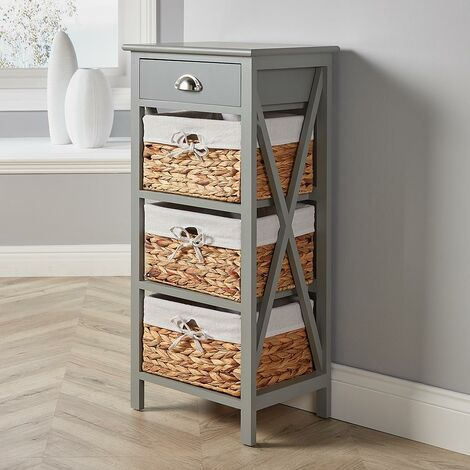 "main image of ""Grey Wooden Storage Unit 3 Drawer Chest Water Hyacinth Basket Bedroom Organiser"""