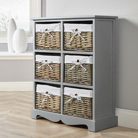 "main image of ""Grey Wooden Storage Unit 6 Drawer Chest Water Hyacinth Basket Hallway Organiser"""