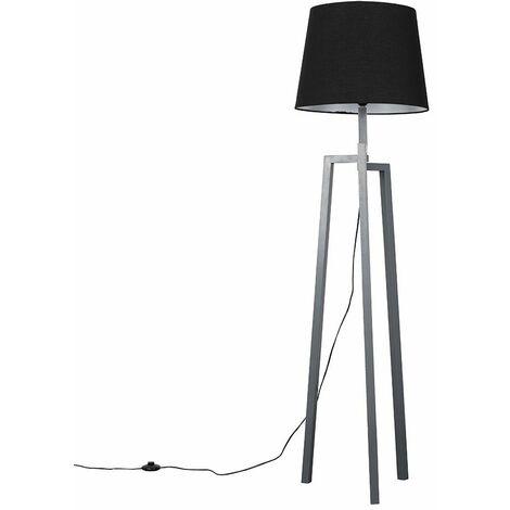 Grey Wooden Tripod Step Floor Lamp + Black Shade + 6W LED Bulb Warm White - Grey