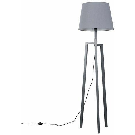 Grey Wooden Tripod Step Floor Lamp + Grey Shade + 6W LED Bulb Warm White - Grey