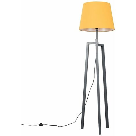 Grey Wooden Tripod Step Floor Lamp + Mustard Shade + 6W LED Bulb Warm White - Grey