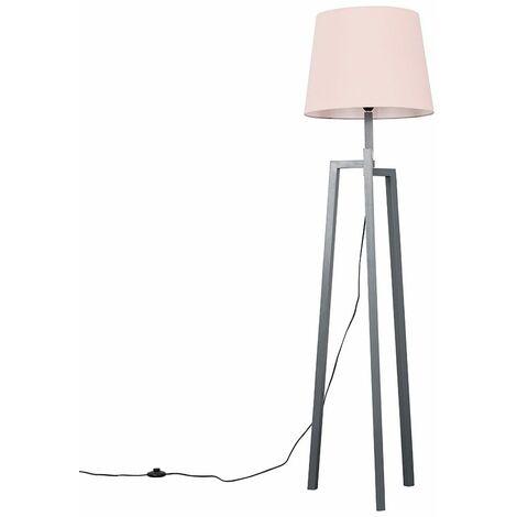 Grey Wooden Tripod Step Floor Lamp + Pink Shade + 6W LED Bulb Warm White - Grey