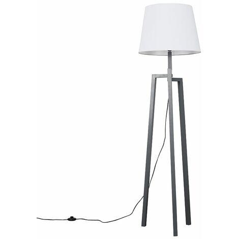 Grey Wooden Tripod Step Floor Lamp + White Shade + 6W LED Bulb Warm White - Grey