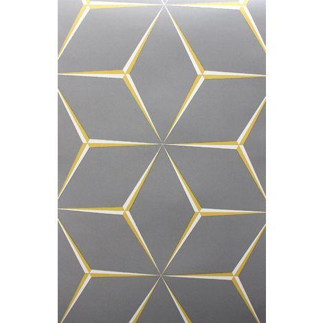 Grey Yellow 3D Geometric Wallpaper Glitter Shimmer Feature Belgravia Harper