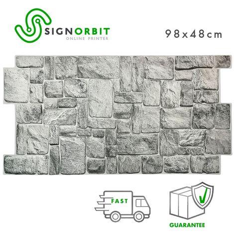 """main image of """"Greystone - Pannello finta pietra in PVC 98x48cm kit di 2 Pz 1 mq"""""""