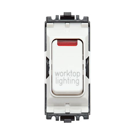 Grid Plus 20A DP 1W 'Worktop Light' Switch Module With Neon (K4896NWLWHI)