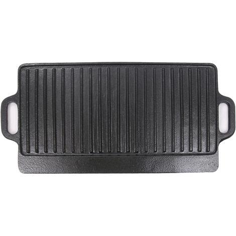 Griddle Pan Cast Iron No Stick Reversible Grill Plate Enamel Rectangular Pan 50 x 23cm