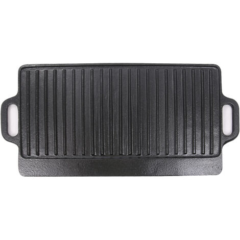 Griddle Pan Cast Iron Reversible Grill Plate Enamel Rectangular Pan 50 x 23cm