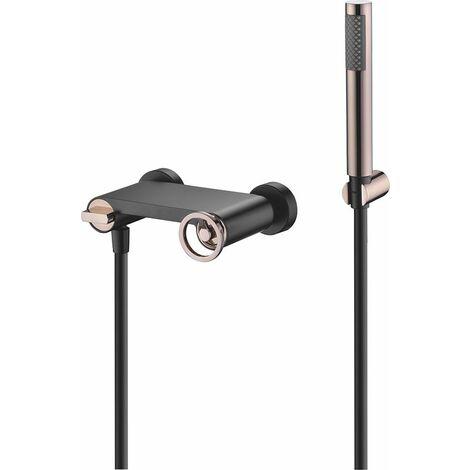Grifera ducha negro oro rosa Serie Olimpo