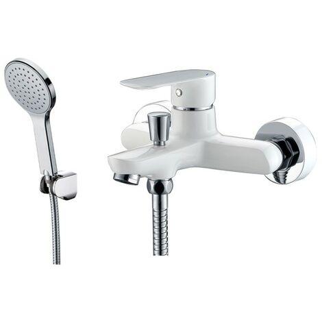 Grifería bañera CASSIO blanco/cromo con kit de ducha