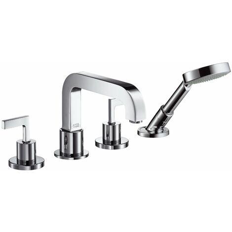 Grifería de 4 orificios para bañera Hansgrohe Axor Citterio con manijas de palanca, color: cromado - 39446000