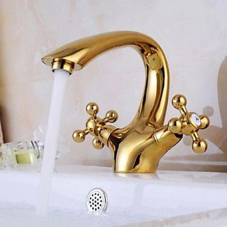 Grifería de baño de color dorado con dos manijas, estilo contemporáneo y acabado de latón