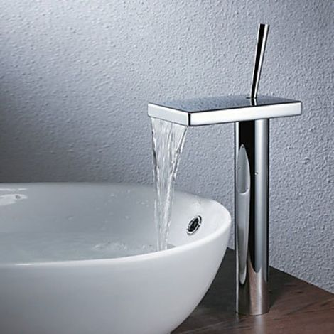 Grifería de baño de estilo moderno con cascada en cromo